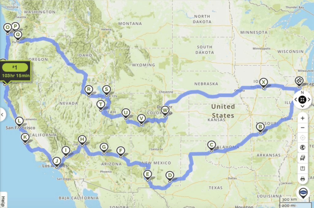 road trip map across usa