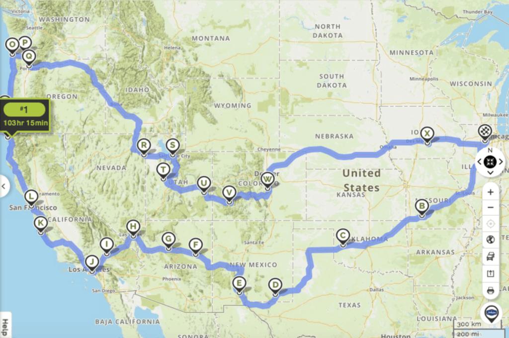 road trip map across usa