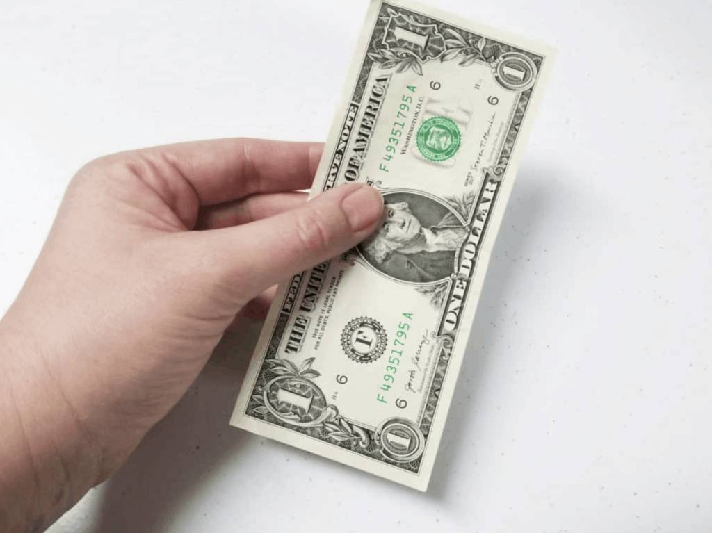 hand holding dollar bill white background