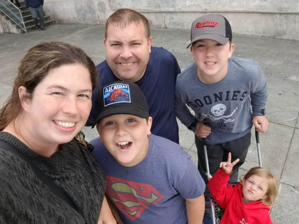 family with kids on alcatraz