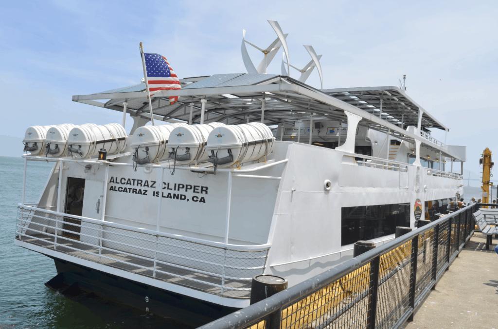 white Alcatraz Cruises ferry boat