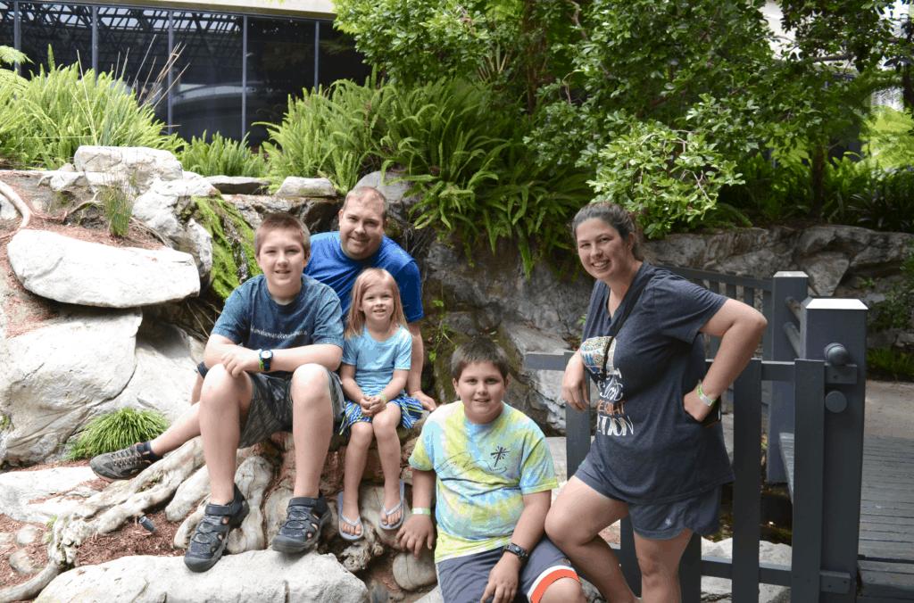 family photo at La Brea Tar Pits LA Los Angeles