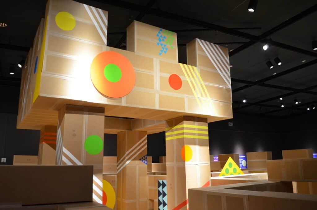 cardboard maze exhibit