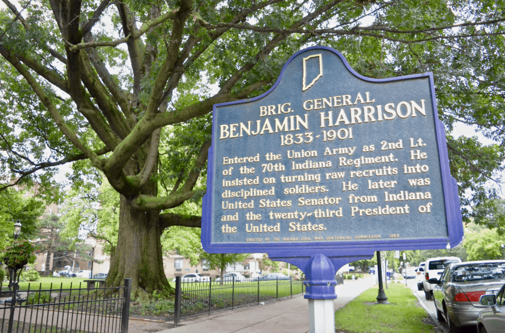 Benjamin Harrison home historic sign