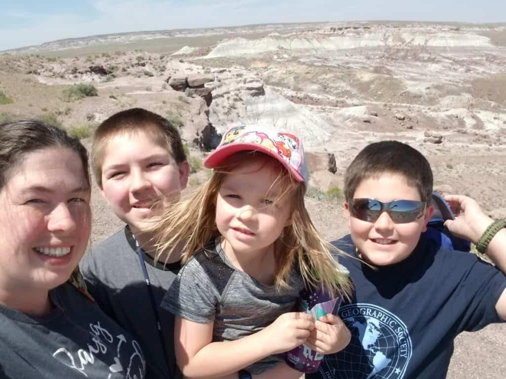 family photo on Blue Mesa Trail Arizona