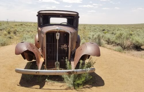 Where to Find the Vintage Car on Route 66 in the Petrified Forest