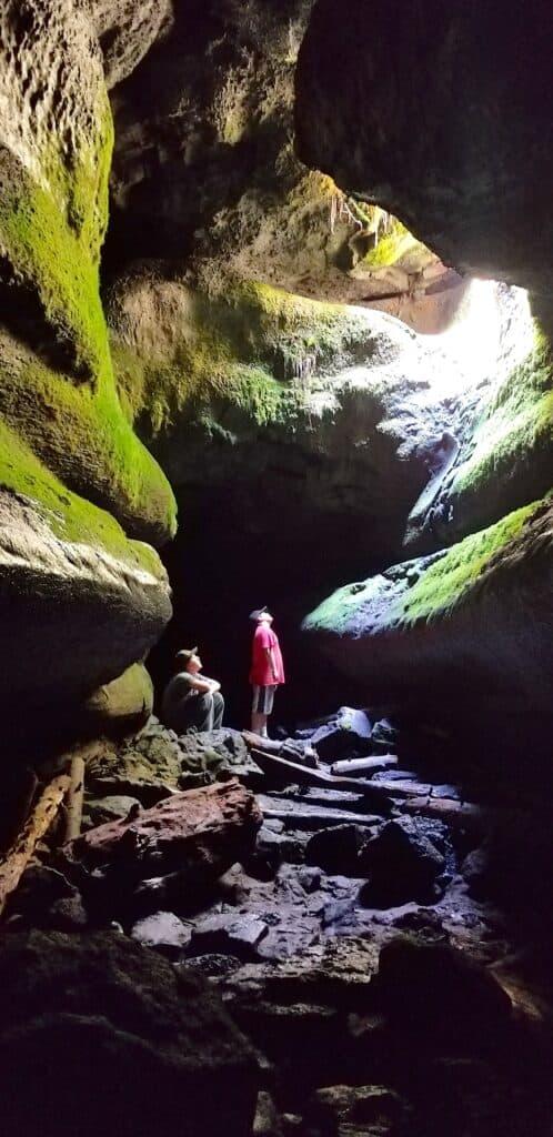 boys inside Ape Cave, Washington