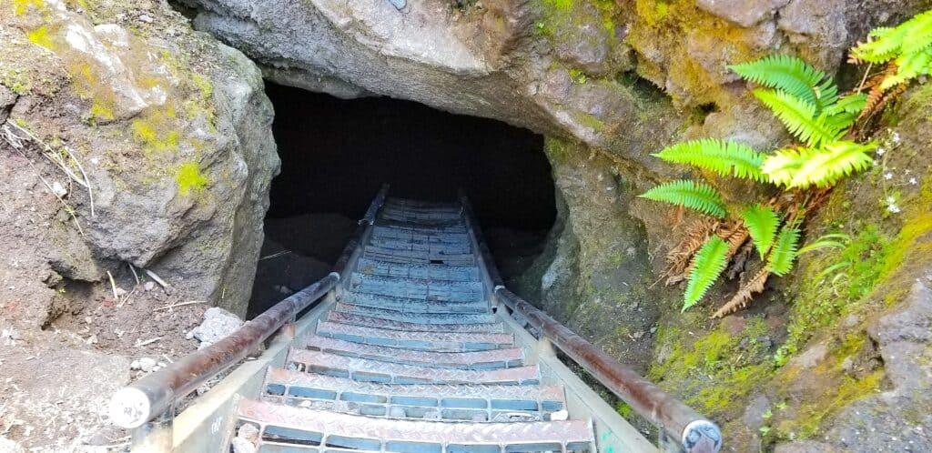 stair case exiting Ape Cave, Washington