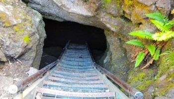 stair case exiting Ape Cave, Washington