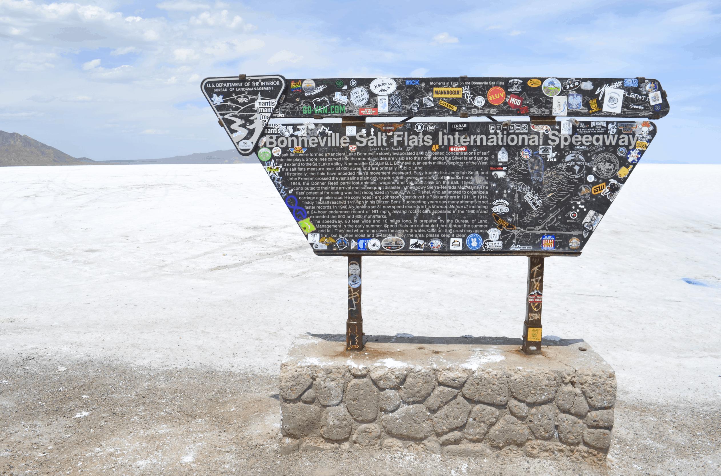 Bonneville Salt Flats sign Utah