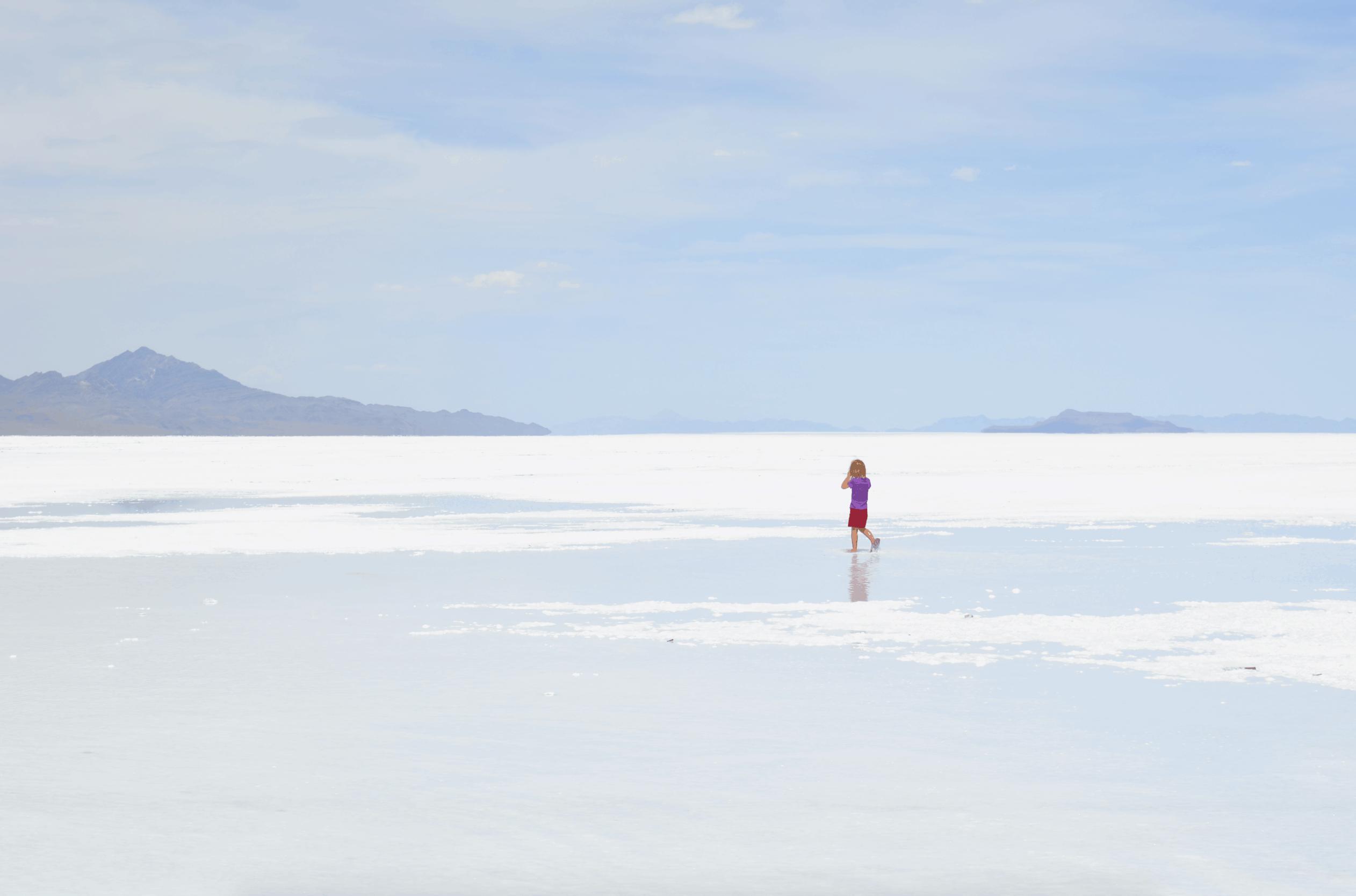 girl on Bonneville Salt Flats Utah