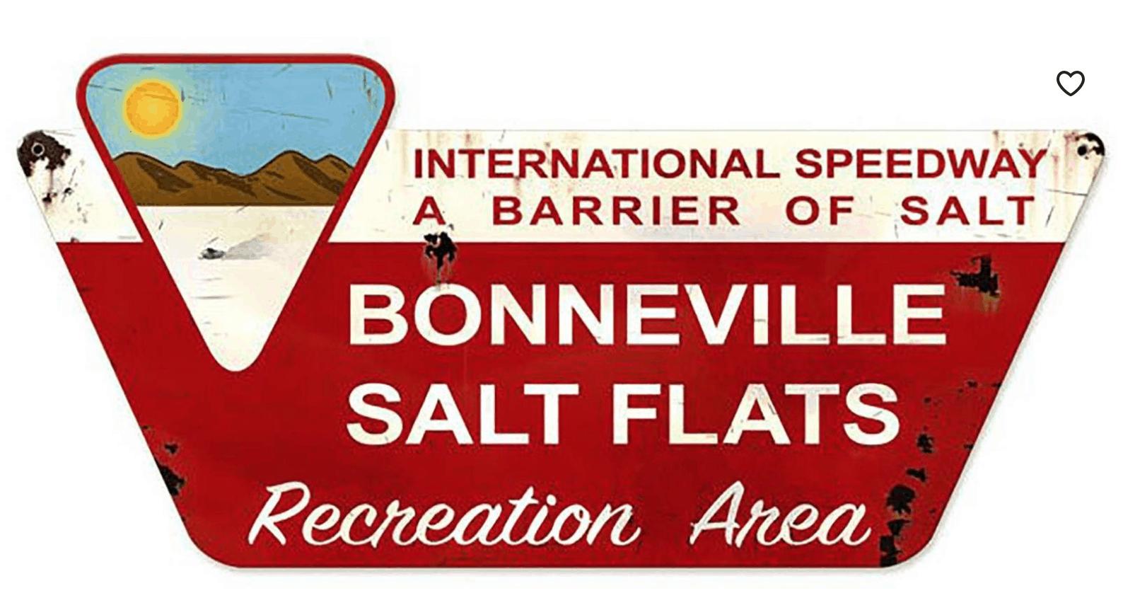 metal Bonneville salt flats sign