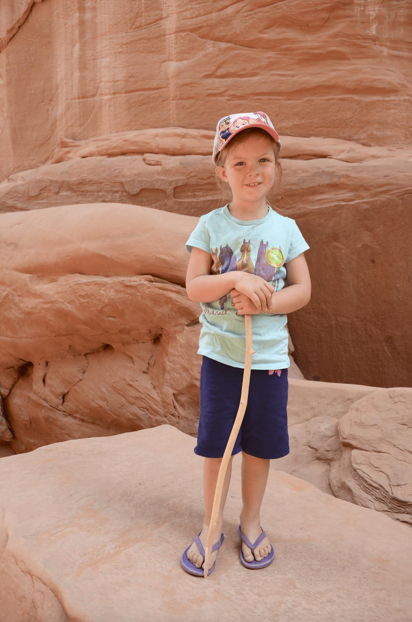 girl hiking at Arches National Park Utah