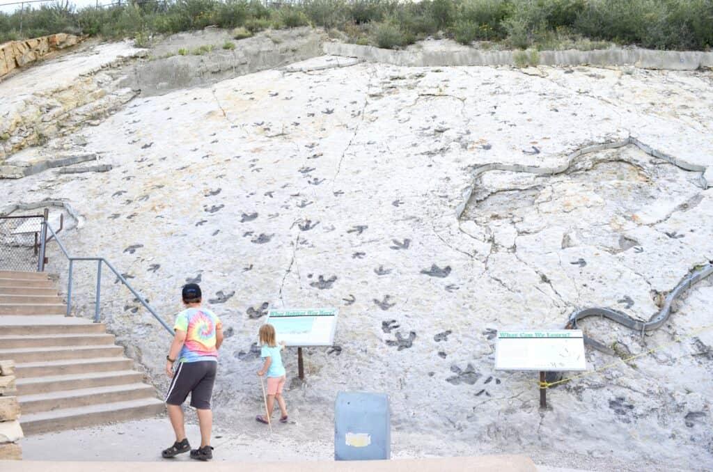 kids looking at dinosaur footprints Denver