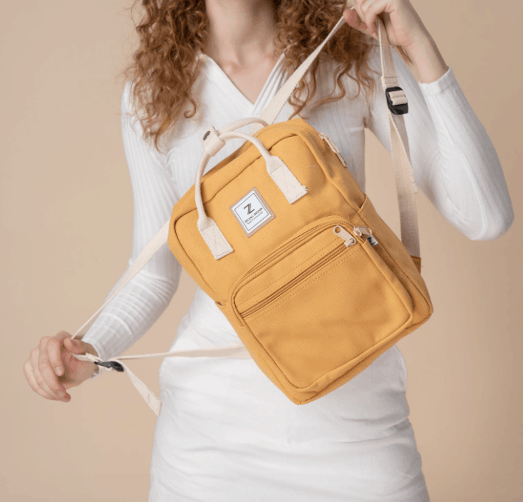 yellow camping backpack