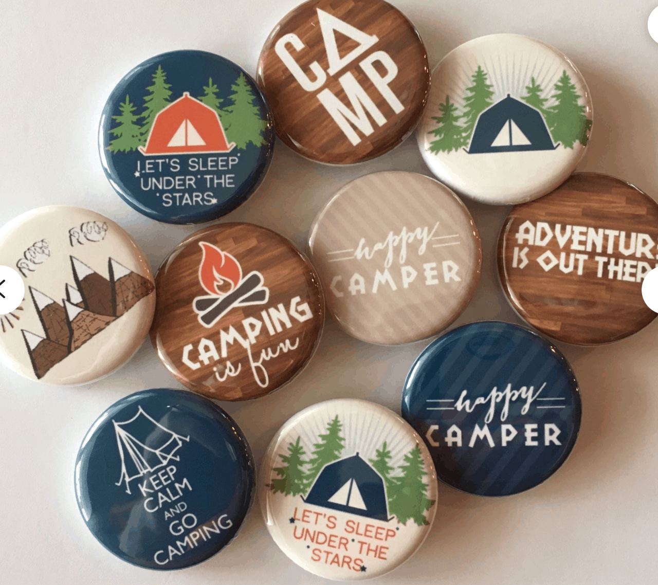 camping button collection