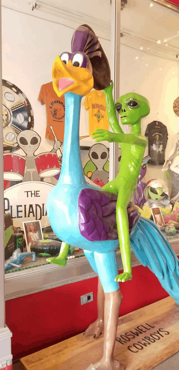 alien riding load runner bird