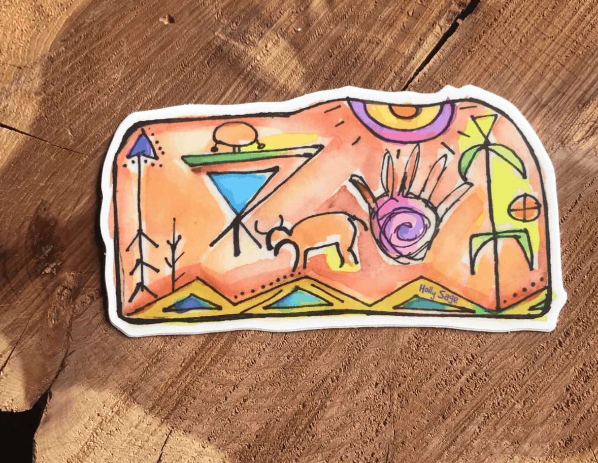 petroglyph rock art sticker