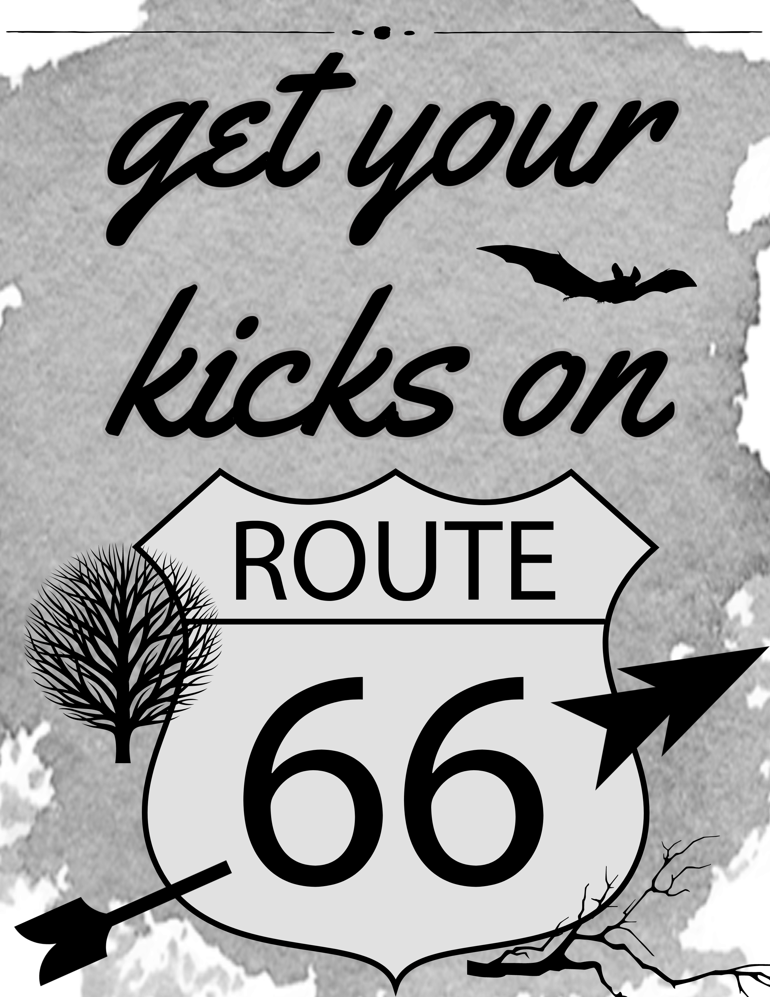 black and white Route 66 goth art