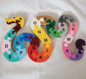 wooden snake alphabet etsy