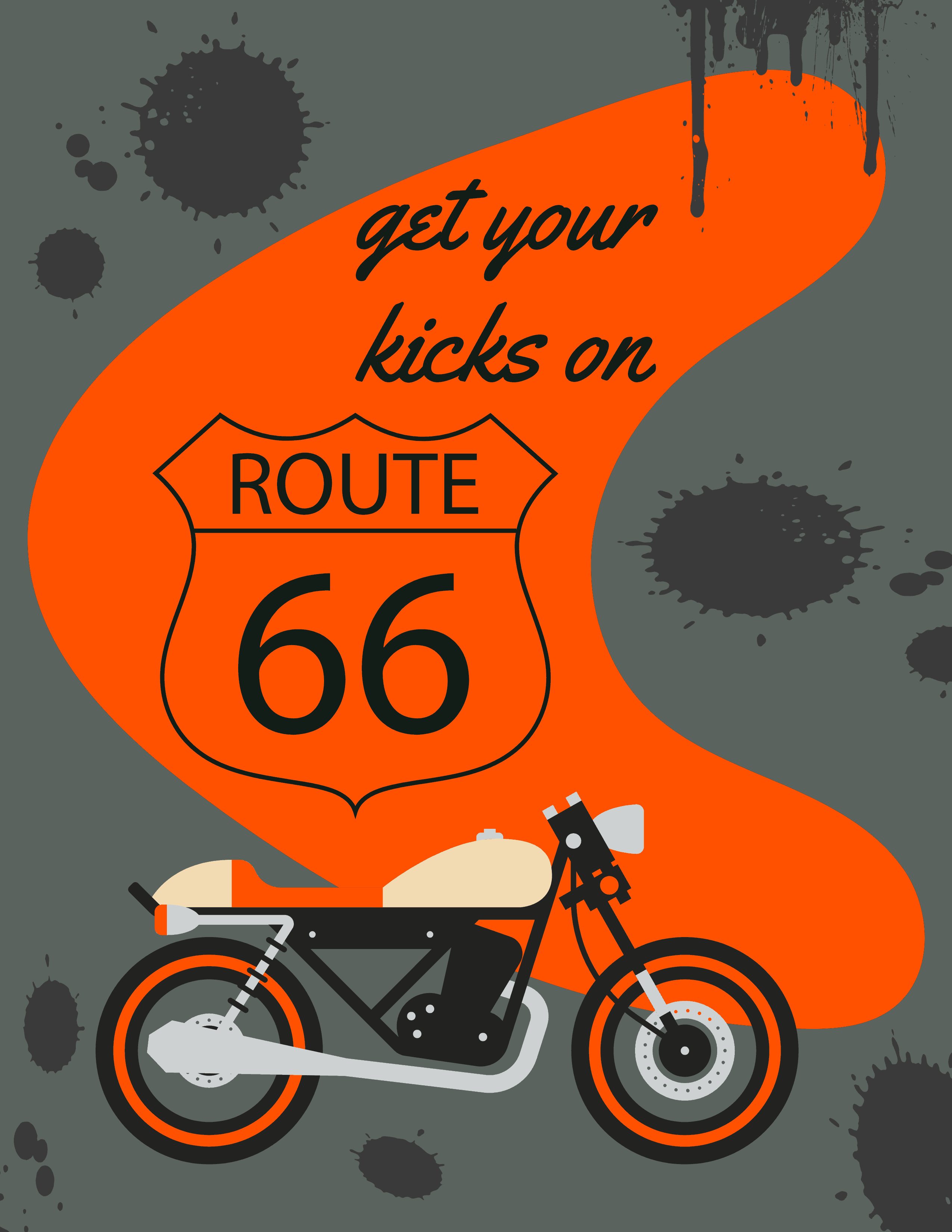 grunge motorcycle route 66 wall art
