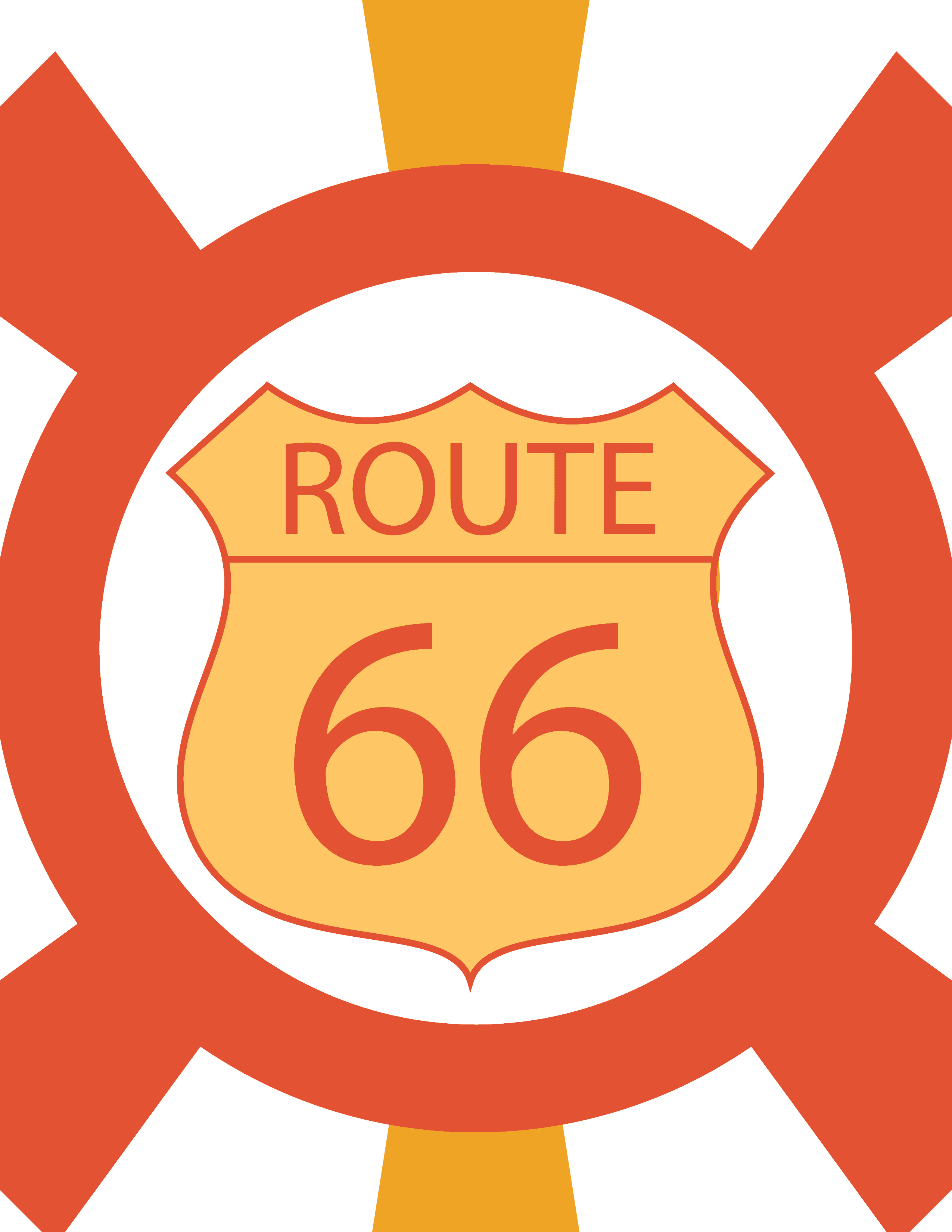 basic bold retro route 66 art