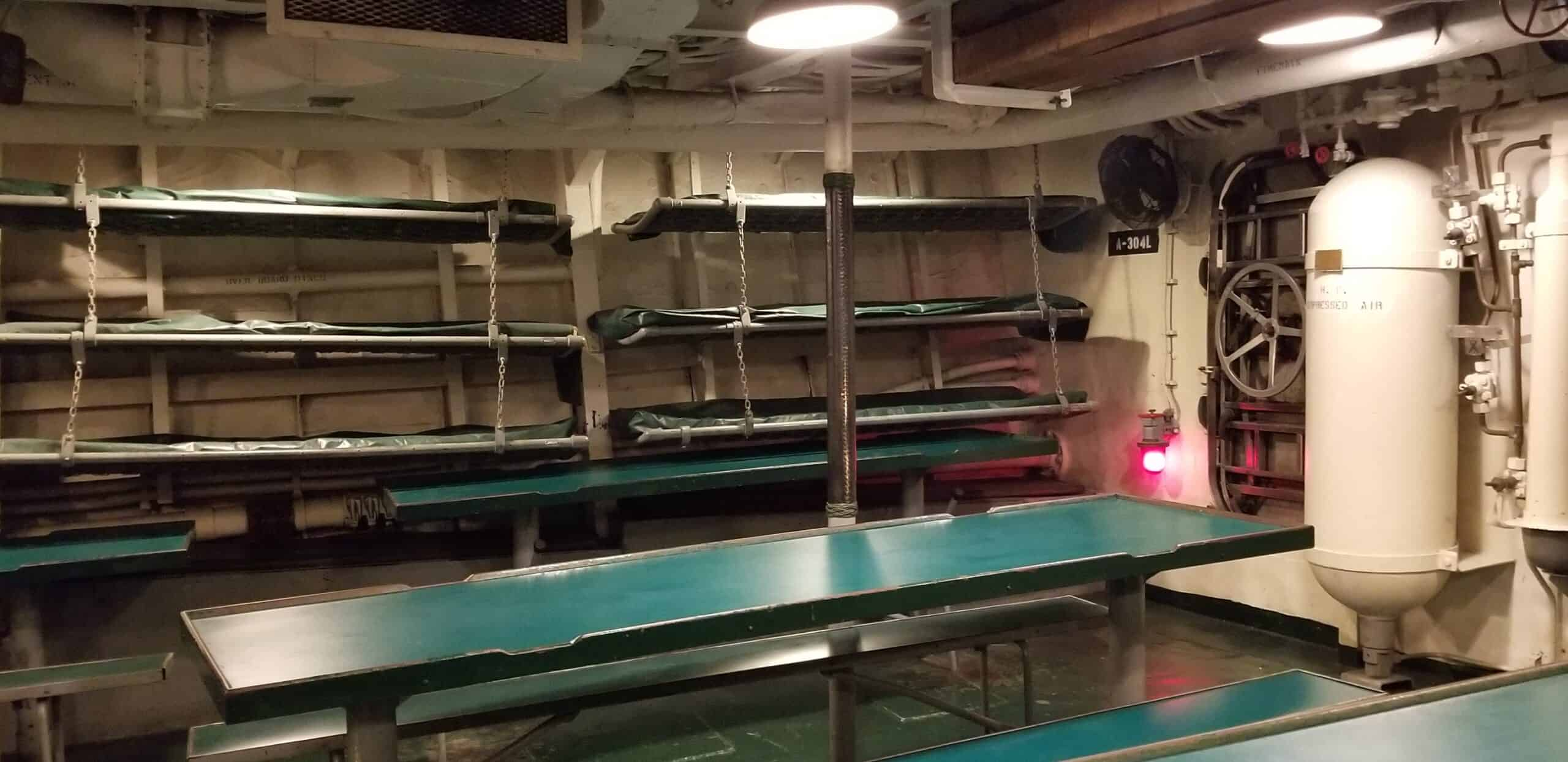 sleeping cots on the USS Kidd
