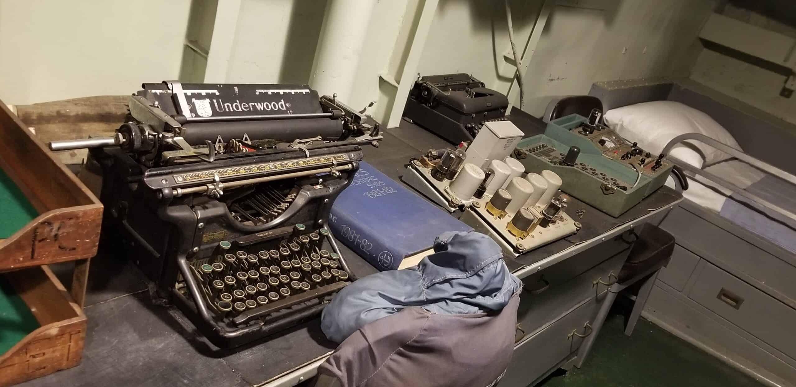vintage typewriter on USS Kidd