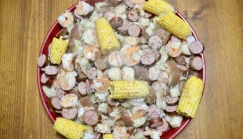 hot Authentic Cajun Louisiana Shrimp Boil on a platter