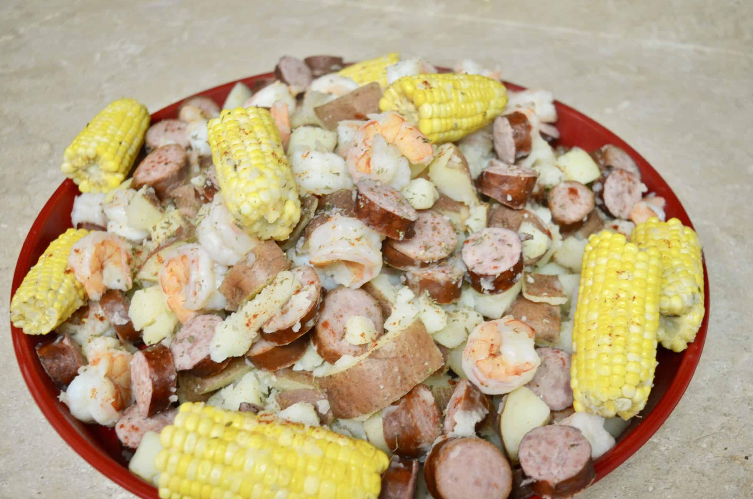 close up of Authentic Cajun Louisiana Shrimp Boil