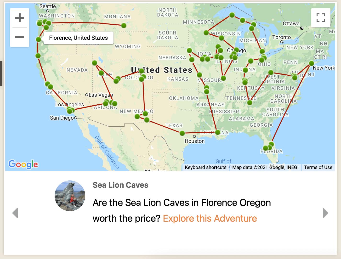 travel info maps USA