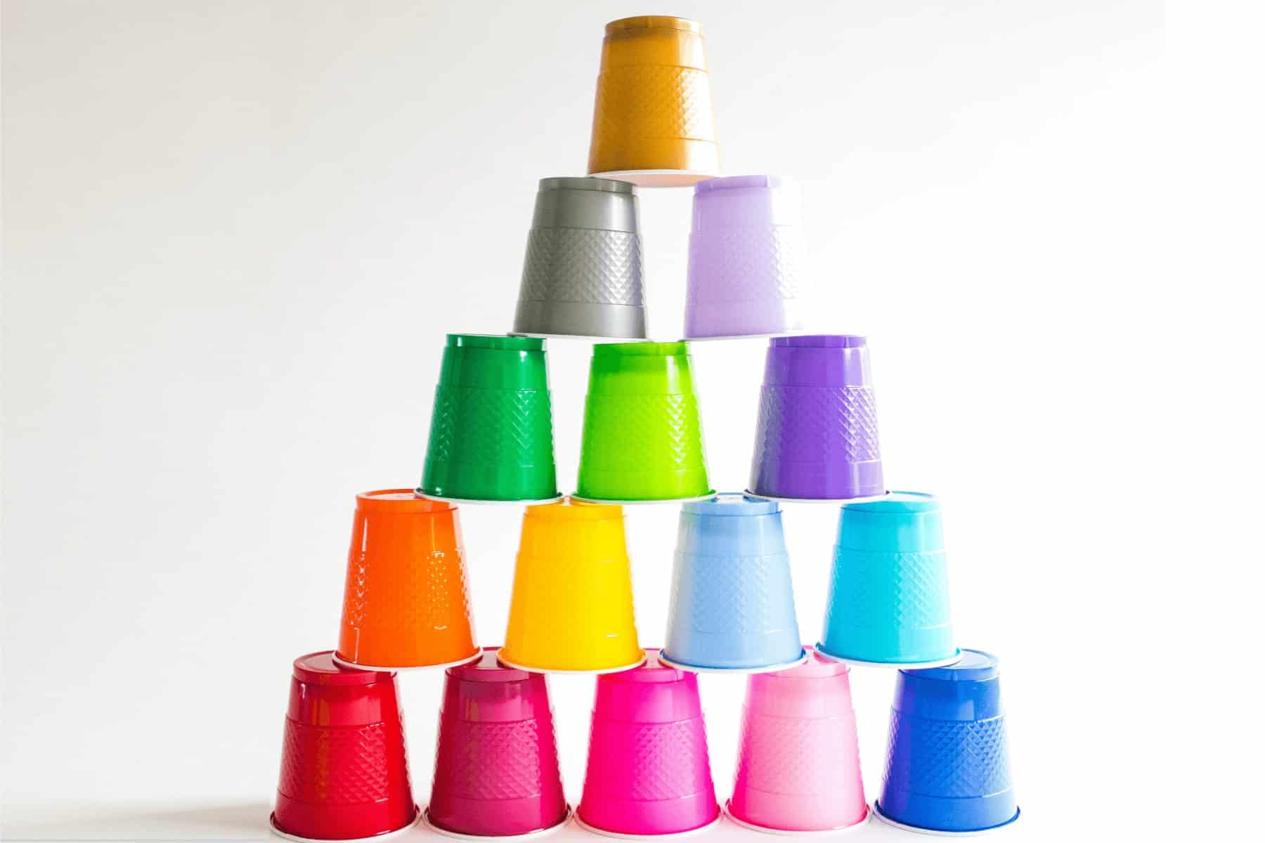 colorful cups stacked in pyramid shape